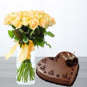 Yellow Roses With Heart Shaped Cake: Gift Kanpur,  India
