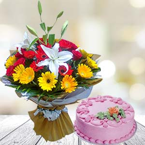 Mix Gerbera With Strawberry Cake: Gift Hyderabad,  India