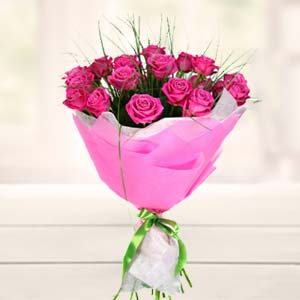 Bouquet Of Pink Roses: Gift Banaras,  India