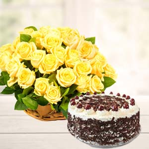 Yellow Roses With Black Forest Cake: Gift Jamshedpur,  India