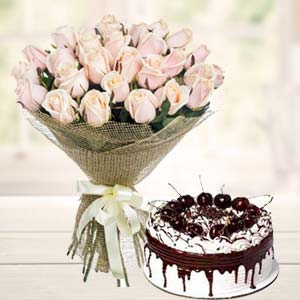 White Roses With Vanila Cake: Gift Guna,  India