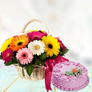 Basket Of Gerbera With Strawberry Cake: Birthday  India