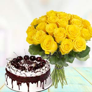 Yellow Roses With Vanila Cake: Birthday-gift-ideas  India