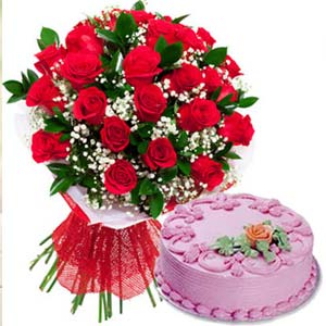 Red Roses With Strawberry Cake: Gifts Bangalore,  India