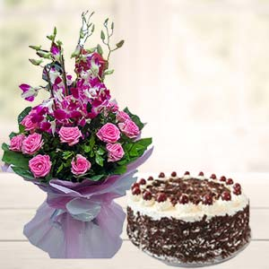 Orchids With Black Forest Cake: Mothers-day  India