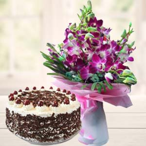 Purple Orchids With Black Forest Cake: Gifts Bangalore,  India