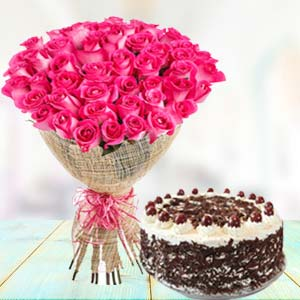 Pink Roses With Black Forest Cake: Gift Guna,  India