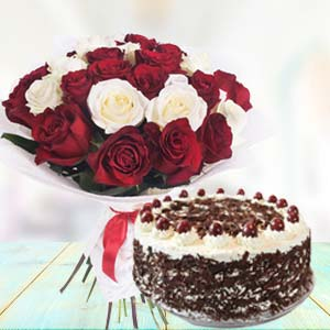 Mix Roses With Black Forest Cake: Rose Day Noida,  India