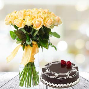 Yellow Roses With Rich Chocolate Cake: Gifts Bangalore,  India