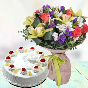Mix Fresh Flowers With Pineapple Cake: Gift Rishikesh,  India