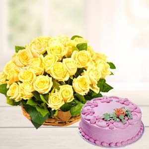 Strawberry Cake With Yellow Roses: Gift Guna,  India