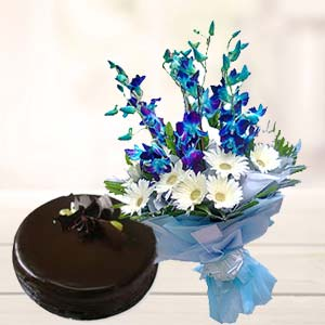 Blue Orchids With Chocolate Cake: Gift Chennai,  India