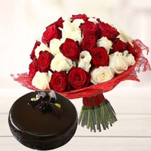Roses With Dark Chocolate Cake: Gift Udupi(karnataka),  India