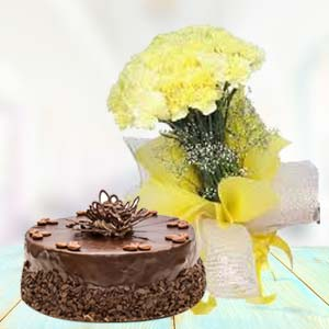 Yellow Carnations With Chocolate Cake: Gifts Bangalore,  India
