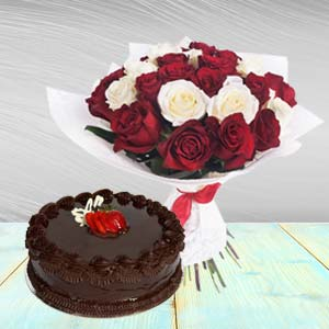 Roses Arrangement With Chocolate Cake: Gift For Friends Vijayawada,  India