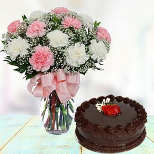 Mix Carnations With Chocolate Cake: Gifts For Her Warangal,  India