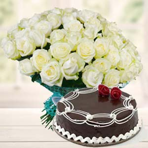 White Roses With Rich Chocolate Cake: Gifts For Her Faizabad,  India