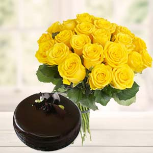 Yellow Roses With Dark Chocolate Cake: Gifts For Her Delhi,  India