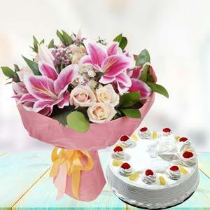 White Roses With Pink Lilies Combos: Makar-sankranti  India