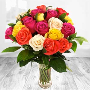 Roses In Glass Vase: Gifts For Her Shimla,  India