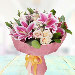 Bunch Of Lilies With White Roses: Gift Bangalore,  India