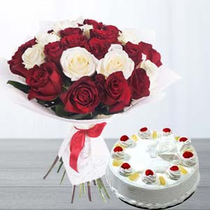 Roses With Pineapple Cake: Gifts For Husband Bikaner,  India