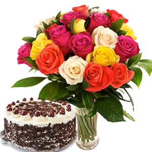 Roses With Black Forest Cake: Gifts Bangalore,  India