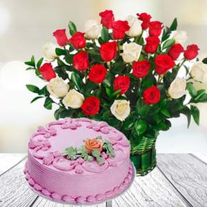 Roses With Strawberry Cake: Gift Gurdaspur,  India