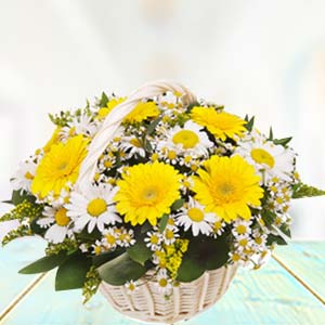 Basket Of Yellow Gerbera: Gifts For Her Jalandhar,  India