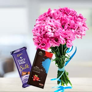 Carnations With Chocolates: Gifts For Her Ambala,  India