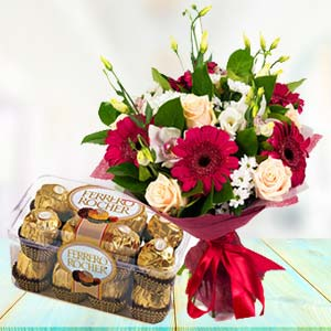 Mix Flowers With Ferrero Rocher Pack: Gifts For Her Jagadhri,  India