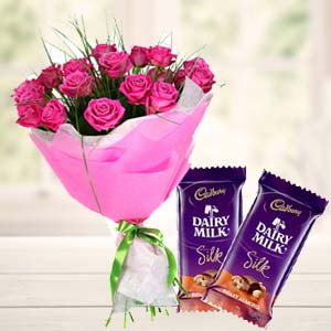 Pink Roses With Dairy Silk Chocolates: Anniversary-gift-ideas  India