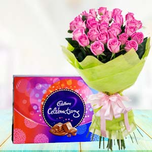 Pink Roses With Celebration Pack: Birthday-flowers-&-chocolates  India