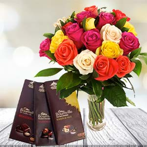 Mix Roses With Chocolates: Gifts For Her Ambala,  India