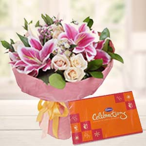 Lilies With Celebration Pack: Gift Banaras,  India