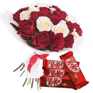 Roses With KitKat Chocolates: Gifts For Her Vizag,  India