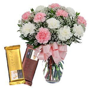 Mix Carnations With Chocolates: Gift Zirakpur,  India