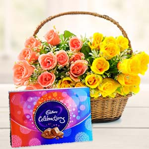 Roses Basket With Celebration Pack: Anniversary-flowers-&-chocolates  India