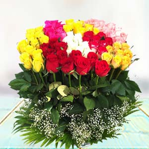 70 Mixed Roses Flowers Chocolate Basket, India