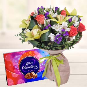 Mix Flowers With Celebrations Pack: Gifts Bangalore,  India