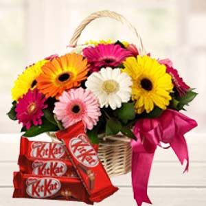 Gerbera Basket With KitKat Chocolates: Karwa Chauth Gifts  India