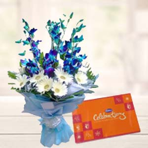 Blue Orchids With Celebrations Pack: Gift For Friends Vijayawada,  India