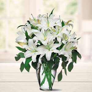 White Lillies In A Vase: Gift Bulandshahr,  India