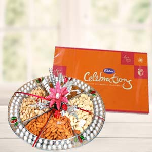 Dryfruit Basket With Cadbury Celebrations: Gift Delhi,  India