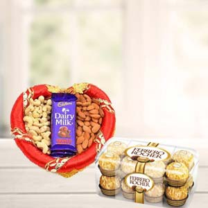 Dry Fruits Combo With Ferrero Rocher: Rakhi Gurgaon,  India