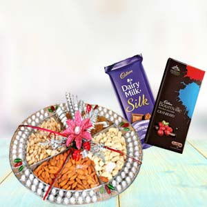 Dry Fruits Thali With Chocolates: Gift Ahmedabad,  India