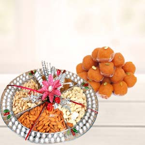 Dry Fruits Thali With Motichoor Laddoo: Rakhi Ambala Cantt,  India