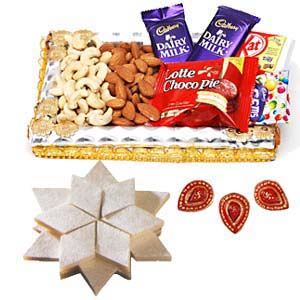Dry Fruits Combo Thali With Sweets: Gift Indore,  India