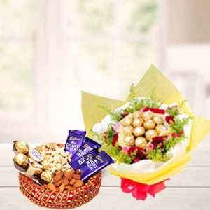 Special Dry Fruits Thali With Chocolates: Gift Gorakhpur,  India
