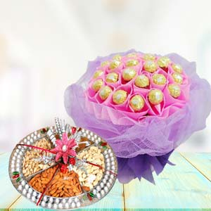Ferrero Rocher With Dry Fruits Thali: Gift Delhi,  India